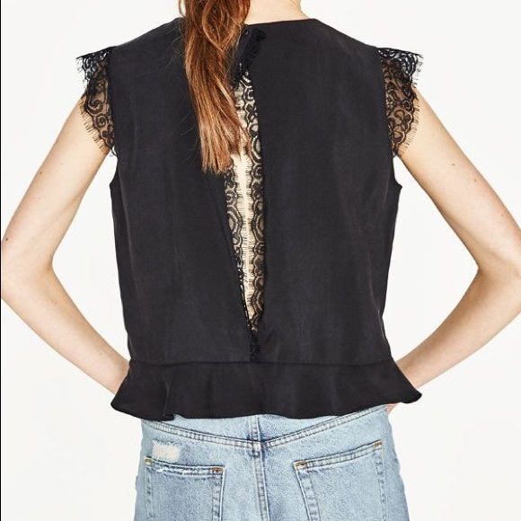 1351547d9d16b Zara black cropped top with open back NWT size xs